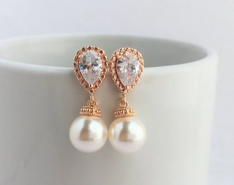 Rose Gold and  Pearl Bridal Crystal Earrings Wedding Cubic Zirconia and Pearls Rose Gold Earrings Swarovski Pearl Jewelry