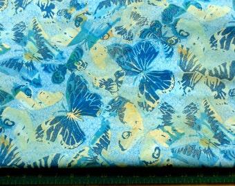 Butterfly Print Fabric, Blue Butterflies Allover Print on Cotton,  HALF YARD