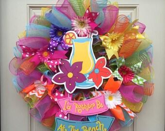 Beach Wreath, Summer Mesh Wreath, Tropical Drink Wreath, Beach Mesh Wreath, Colorful Mesh Wreath, I'd Rather be at the Beach