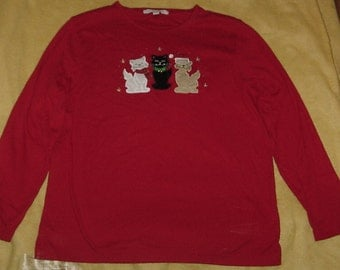 Christmas shirt cats with bells size L
