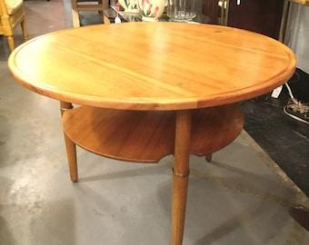 34 inches Diameter Kresten Buch Round Danish table with brass accents