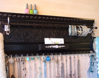 Jewelry organizer. Gift of storage  Black Accessory hanger for scarves,necklaces,earrings,bracelets,rings,belts,purses &,hats. Wall storage