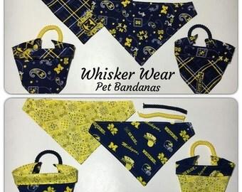 michigan football fabric, reversible custom pet bandana, no tie, dog scarfs, dog bandana, pet scarf, pet clothes, college football