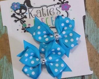 Blue Pig tail hair bow set
