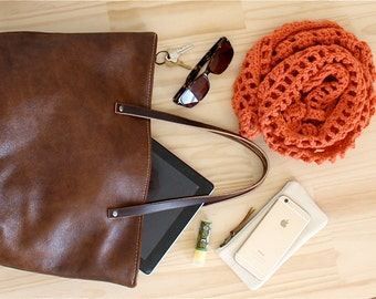 Leather Tote, Leather Bag, Leather Carry All, Market Bag