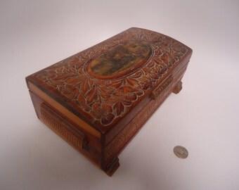 Antique Wood Jewelry Treasure Box