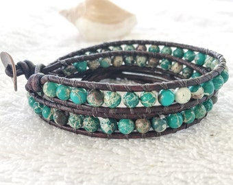 Ocean Green Sea Sediment Jasper Wrap Bracelet - Double Leather Wrap Bracelet antique Brown Leather - Jasper Bracelet Gemstone Jewelry Beachy