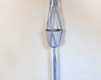 ON SALE - Light Blue Recycled t-shirt yarn Macrame Plant Hanger