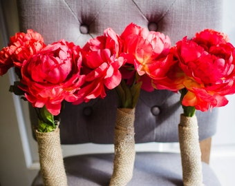Red Peony + Poppy Bridesmaid Bouquets (Set of 3)