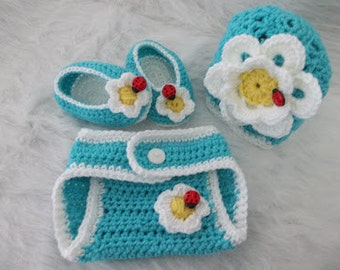 Crochet Daisy Diaper Cover Set