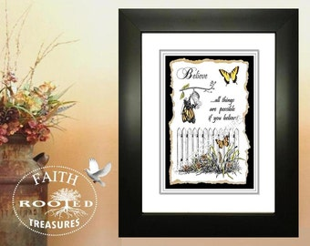 Pen & Ink Framed Print, BELIEVE, Wall Decor, Scripture Art, Religious Art, Home and Living, Christian Gifts,  Inspirational Art, Home Decor