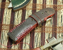 Stingray brown polished strap + red brown edges  + red brown tribal stitching #CD0184