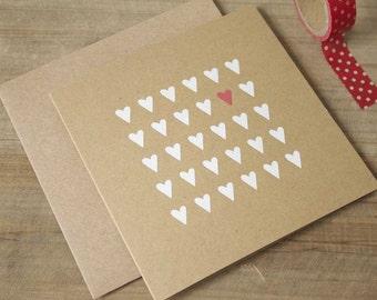 Heart Screenprint Card, Screenprint Greeting Card, Heart Birthday card, Heart Thank You Card, Heart Anniversary Card, Hearts