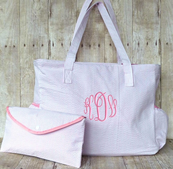 items similar to monogram diaper bag or wipe pouch pink and white seersucker free monogram on. Black Bedroom Furniture Sets. Home Design Ideas