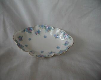 Vintage Crown Staffordshire Trinket Dish Bon Bon Dish Scalloped Edge Blue Flowers