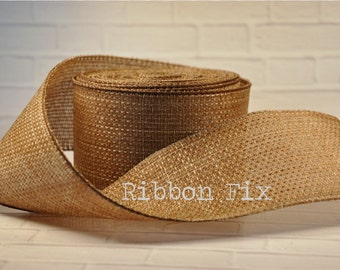 """5 yards 2.5"""" Wired Burlap Ribbon - Smooth Weave - Lace - Rustic Wedding Decor - Baby Shower - Wreath Bows - Christmas Tree - Southern Bow"""