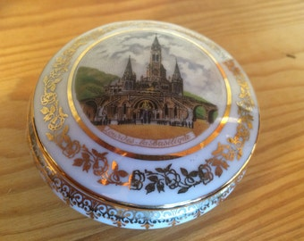 French Porcelain Trinket Box with Lourdes motif