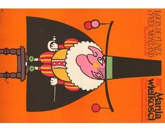 "Delusions of Grandeur Original Polish Poster 23x33 '73  Louis de Funès, Flisak artwork! Size: 23"" x 32 3/4"" [58 x 83 cm]"