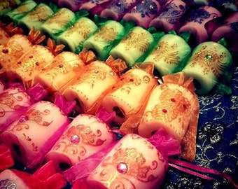 Set of 25 Exquisite Party Favor Candles with various Jewel Tone Gemstones in a variety of henna designs!