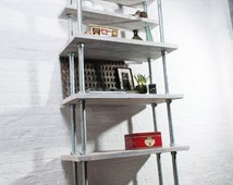 Tango Reclaimed White-washed Scaffolding Boards and Galvanised Steel Pipe Bookcase - Urban Storage, Bespoke Industrial Shelving System