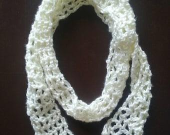 Crochet White Skinny Scarf