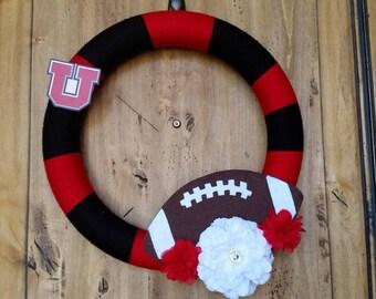 Utah Utes Wreath, College Football Wreath, Black and Red Wreath, Georgia Bulldogs, SUU, Yarn Wreath, Custom Wreath, Sports Wreath, NCAA, NFL