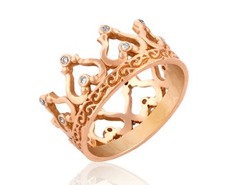 rose gold crown ring gift for her diamond crown ring crown wedding band - Crown Wedding Rings