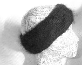 Black Wool Mohair  Headband knit / Ear Warmer crochet headband headwrap Women Headband Women Head Wrap Winter headbands Knit earwarmer