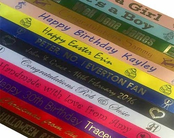 Printed Ribbon - Personalised with your text/image - Per 2 Metre - Single Satin - 13 Colours