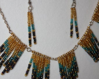 Chevron necklace and earrings