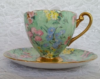 Vintage Shelley Teacup and Saucer, Shelley Teacup Set Melody Pattern, Chintz Footed Teacup and Saucer, English Teacup Set, 1938