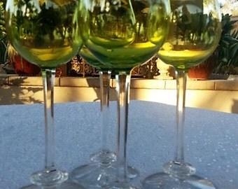 Sale. Vintage Set of 4 Green Crystal Wine Glasses, Green Crystal Stemware, Crystal  Wine Glasses, Wafer Stems