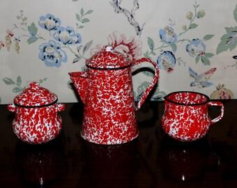 Red & White Enamel Coffee Set