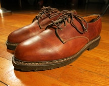 Allen Edmonds Fulton 9 EEE Men's Wide width Mid Light Brown Leather Plain Toe Oxfords Dress Shoes Made in America Goodyear Welt Vintage