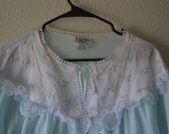 Gorgeous vintage mint nightie - lace nightgown - nightgown - baby bib nightgown - mint nightgown