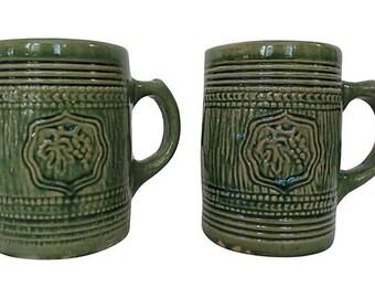 English Majolica Mugs, Vintage Coffee Mugs