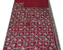 Vintage Dupatta Long Indian Scarf Women Georgette Gota Patti Deco Craft Wrap Decorative Pink Fabric Scarves Veil Stole SD2378