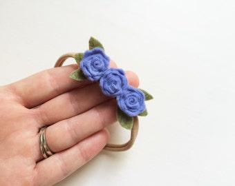 Mini rosette bunch headband - lilac - newborn