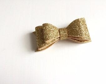 Glitter gold double bow - Felt flower headband or alligator clip - Holiday