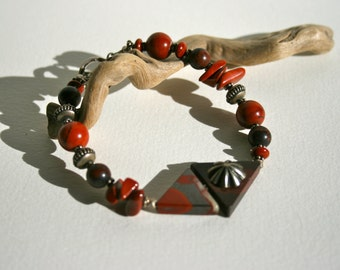 Jasper and Silver Bracelet
