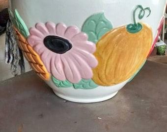 Vintage-1960's-bowl-mixing-decorative-ceramic-fruit-flowers