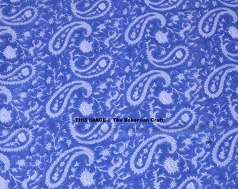 Blue Paisley Hand Block Print Fabric 100% Cotton Indian Running Fabric Natural Dyed Fabric Sold By Yard Bohemian Fabric