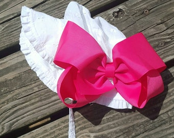 baby girls sun hat with bow, white sun hat with big bow