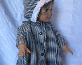 Adorable black and white fully lined coat and matching hat for 18 inch doll