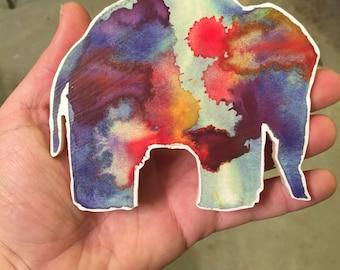 Watercolor Elephant Wooden Magnet