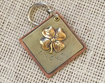 Personalized Pet ID Tag, Four Leaf Clover, Dog Tag, Cat Tag, Metal Tag