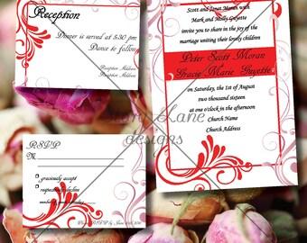 "Wedding Invitation/RSVP/Reception Card ""Feminine Red"""