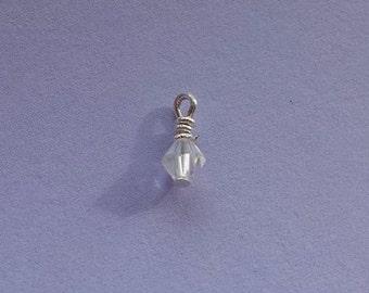Add on Charm, Swarovski Charm on Sterling Silver, Swarovski Dangle, Dangle Charm, Glisten Charm, 4mm