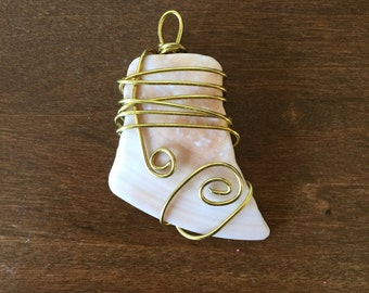 Gold Wire Wrapped Double Swirl Seashell