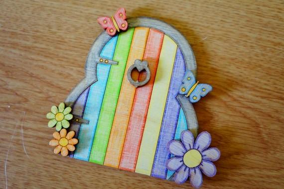 Rainbow fairy door tooth fairy door fairy garden fairytale for Rainbow fairy door